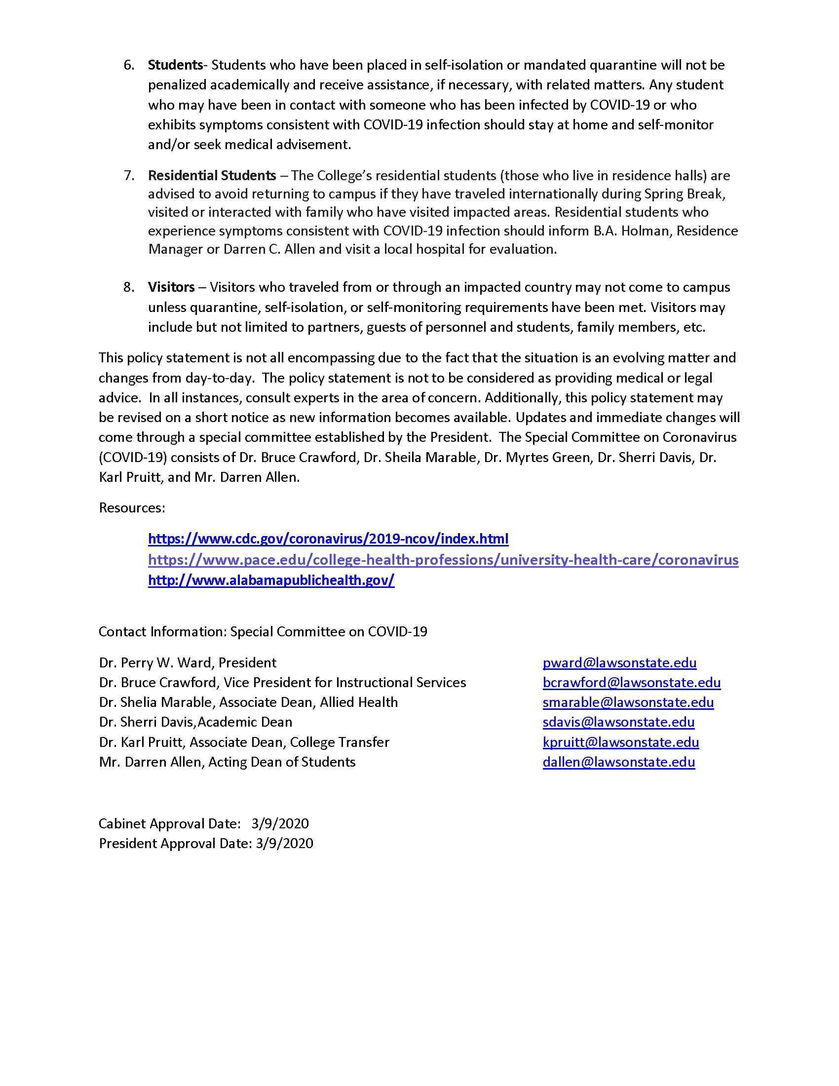 Lscc Policy Coronavirus Lawson State Community College